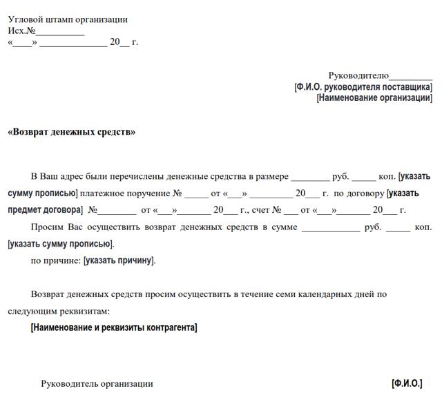 Заявление на возврат денежных средств за товар: образец 2020, правила составления и подачи