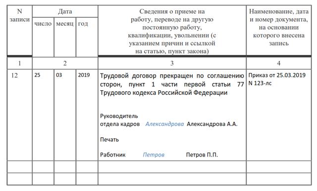 Увольнение в связи с выходом на пенсию в 2020 году: запись в трудовой книжке, образец заявления